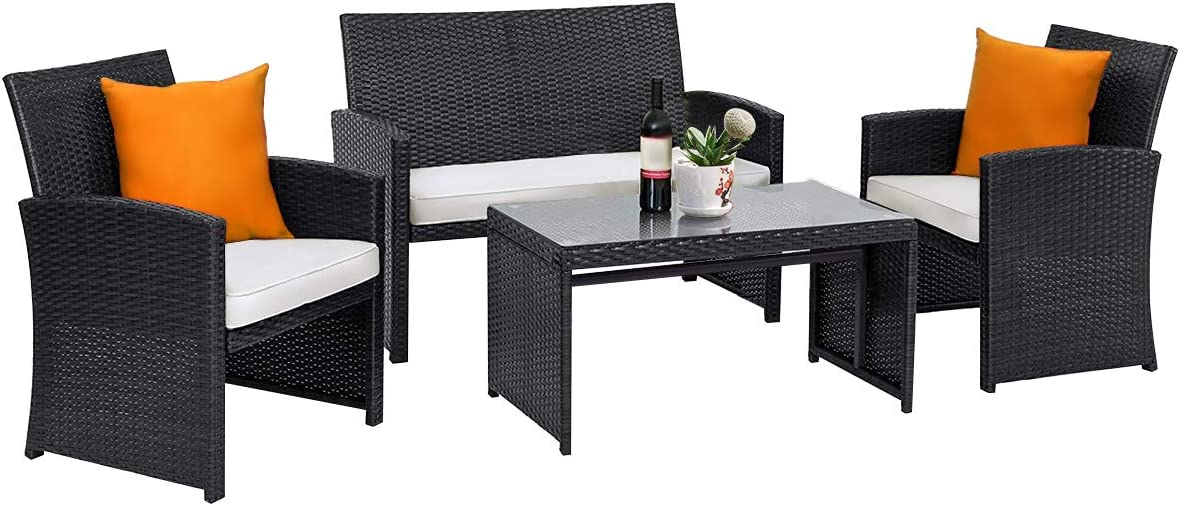 Tangkula 4-PCS Wicker Conversation Furniture Set, Patio Sofa and Table Set w/4 Seats, Outdoor Rattan Sofa Set for Balcony Backyard, Wicker Chair Set with Tempered Glass Coffee Table