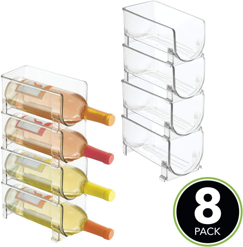 mDesign Set of 8 Kitchen Wine Rack – Stackable Bottle Rack for Wine, Water and Other Drinks – Pantry, Cupboard and Fridge Storage Rack – White Clear