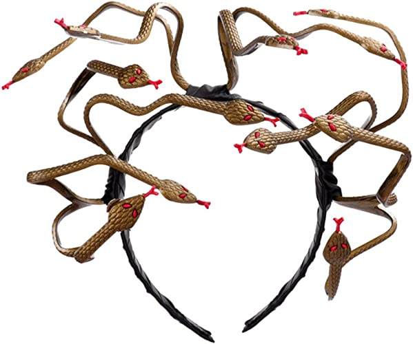 Holibanna Snake Headband Medusa Headpiece Lifelike Snake Plastic for Carnival Y2K Gothic Retro Punk Mardi Gras Masquerade Drag Party Headpiece Supplies Cosplay Bloody Jewelry LGBT Drag Queen