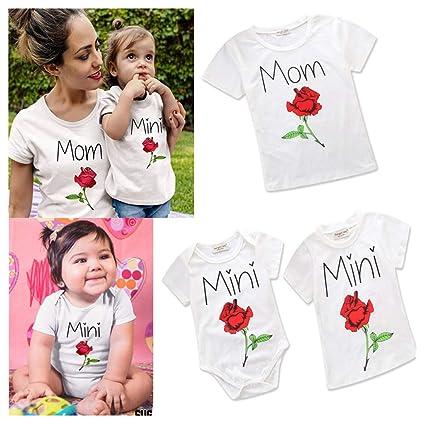 ab472bb823 Amazon.com: Franterd Mommy & Me Mom & Baby Parent-Child Letter T ...