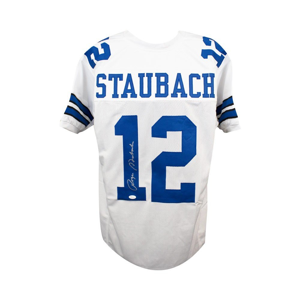 outlet store f18f6 a25c5 Roger Staubach Autographed Dallas Cowboys Custom White Football Jersey -  JSA COA