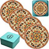 LogHog Ceramic Coaster Set of 4, Retro European Style Cup Holder Coffee Mug Place Mats Glass Stone Coasters for Drinks (Pattern 5)