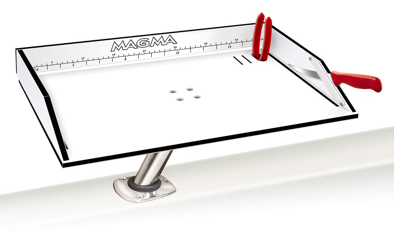 Magma Products, T10-312B Combination Bait/Filet Mate Table with Levelock Rod Holder Mount, 20 Inch x 12-3/4 Inch by Magma
