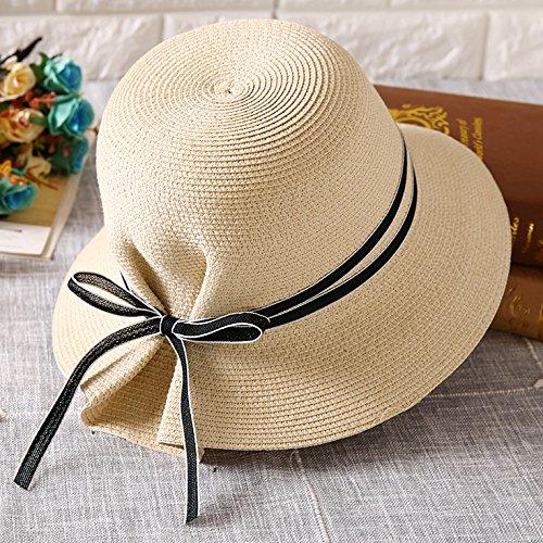 Plegables Largo ajustable Las A Verano Playa café Sombreros Mujeres De Lo Sol Beige Del La Yt SFWxUpfqvv