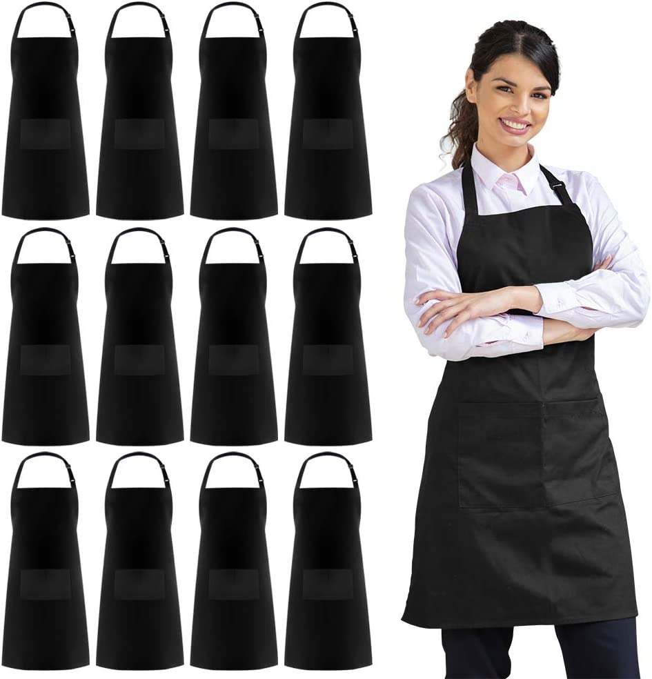 Syntus 12 Pack Adjustable Bib Apron Waterdrop Resistant with 2 Pockets Cooking Kitchen Aprons for BBQ Drawing, Women Men Chef, Black