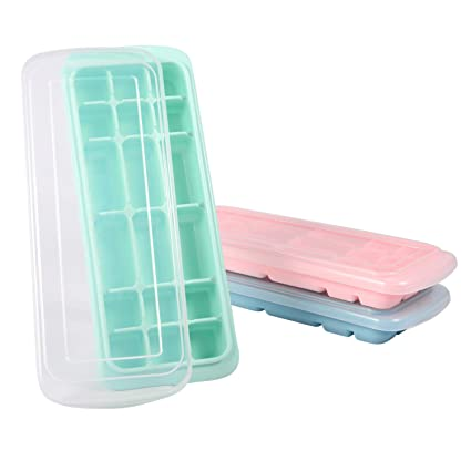 factory price ever popular designer fashion 3 Pack Ice Cube Trays with Lids, Easy-Release Flexible and Stackable Ice  Cube Molds with 18 Cubes per Tray, Food Grade Silicone Ice Cubes Trays suit  ...