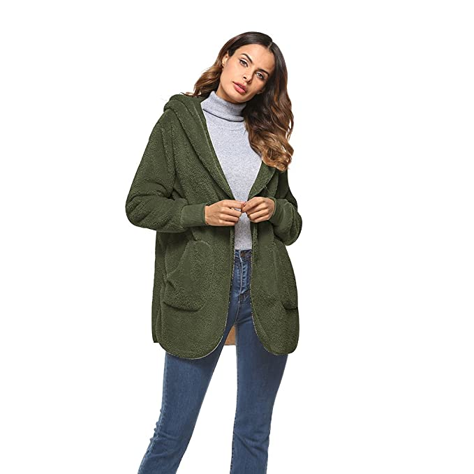 Shujin Damen Winter Warm Plüsch Teddy Fleece Mantel Outwear Cardigan Langarm Casual Kapuzenjacke Baggy Parka Trench Coat mit Taschen