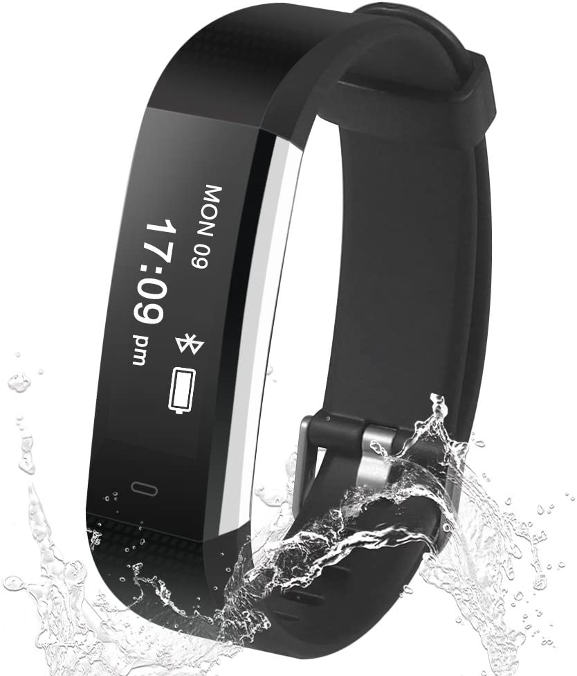Damusy Fitness Tracker, Smart Watch Waterproof Pedometer Activity Bluetooth Wristband with Sleep Monitor Sports Bracelet Calories Track SMS Call Remind for iOS and Android Smart Phone