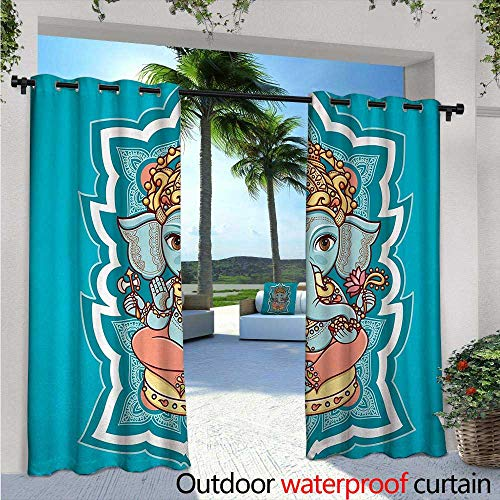 Elephant Bohemian Exterior/Outside Curtains W72 x L96 Asian Religious Figure Paisley Mandala Cheerful Henna Tattoo Style for Patio Light Block Heat Out Water Proof Drape Blue White Coral -