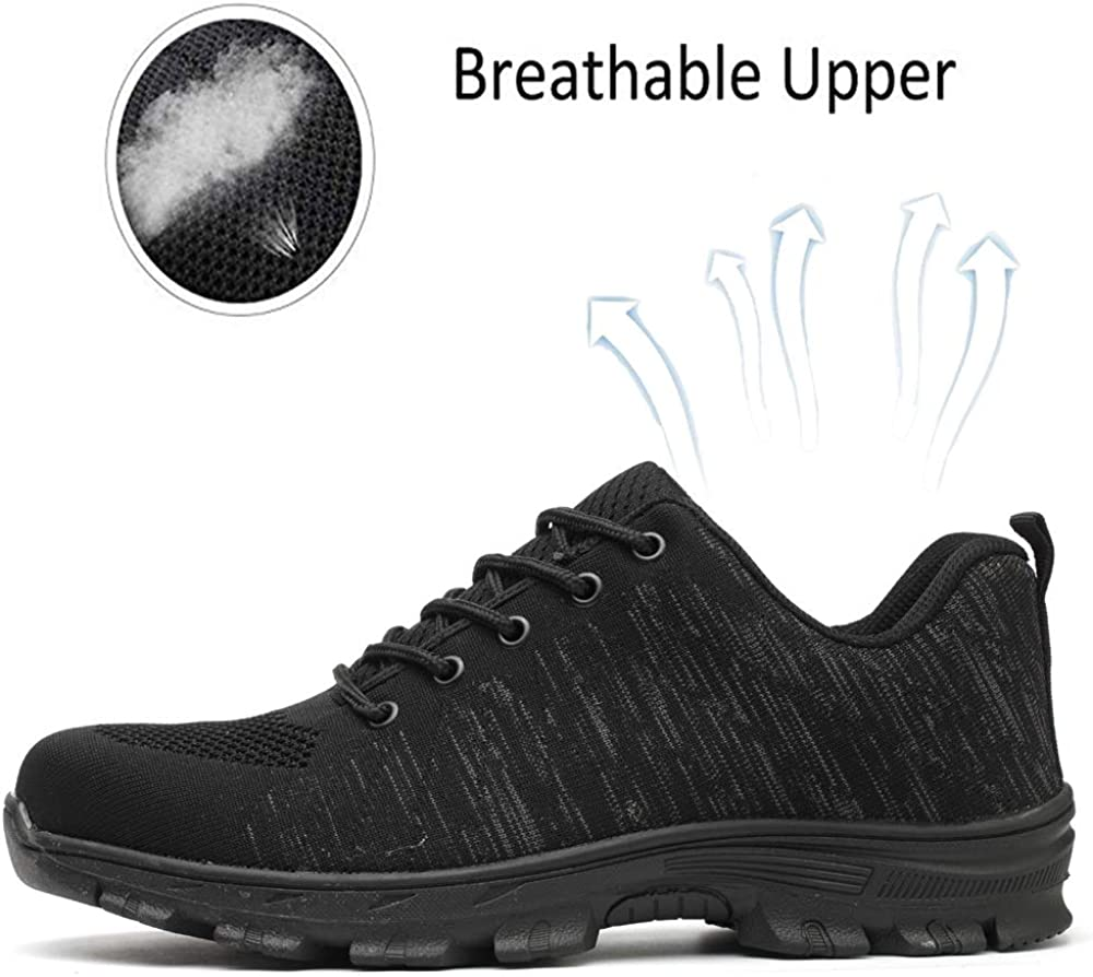 PDBQ Steel Toe Shoes Work Safety Shoes for Men and Women Non Slip Breathable Industrial /& Construction Shoes