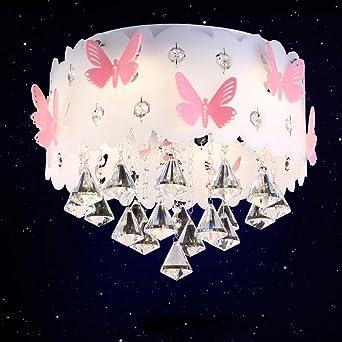 Modern Deckenleuchte Kristall Anhänger Prinzessin Mädchen Kinderzimmer Warm  Romantische Hochzeit Zimmer Schlafzimmer Schmetterling Deckenlampe Runde ...