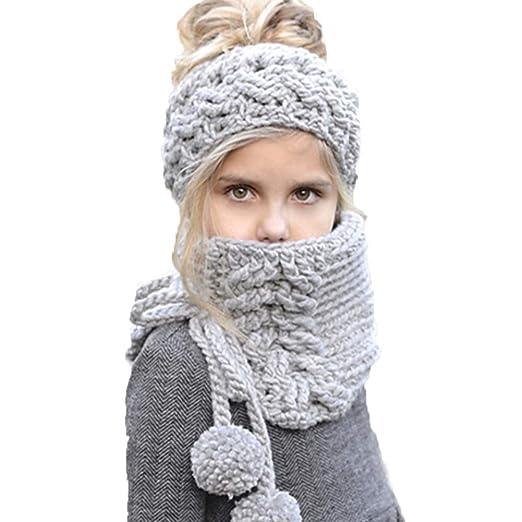dc4fc989ffa91 Amazon.com  GLIN Winter Baby Knitted Hat Warm Hood Scarf Beanies Earflap  Earmuffs Caps (Grey Blue (2-8 Years Old))  Clothing