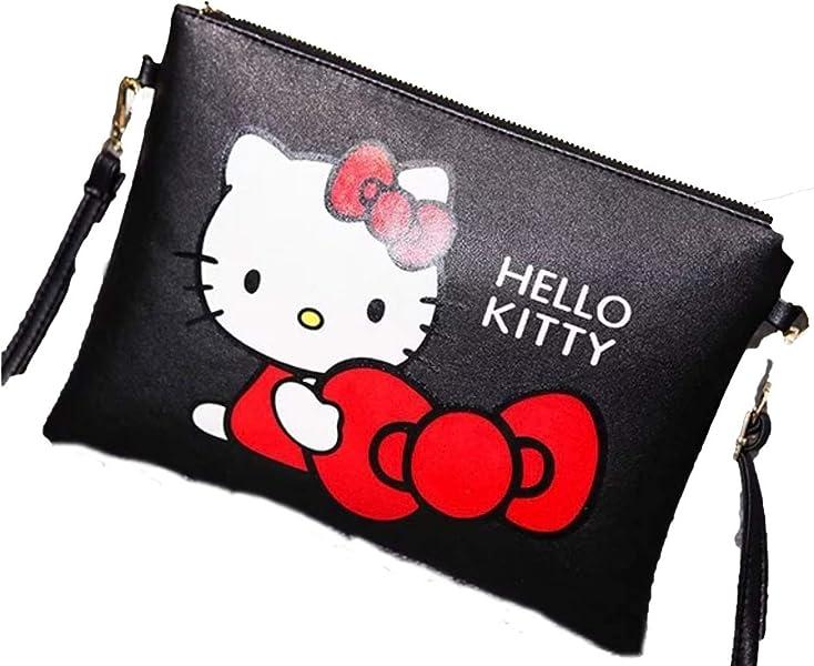 df7970d63 New fashion black color hello kitty print crossbody messenger bag purse:  Handbags: Amazon.com