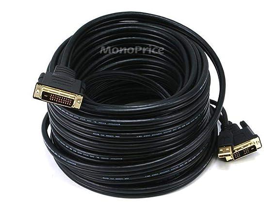 Monoprice 50ft 28AWG DVI D  amp; USB  A Type  to M1 D  P amp;D  Cable   Black Cables