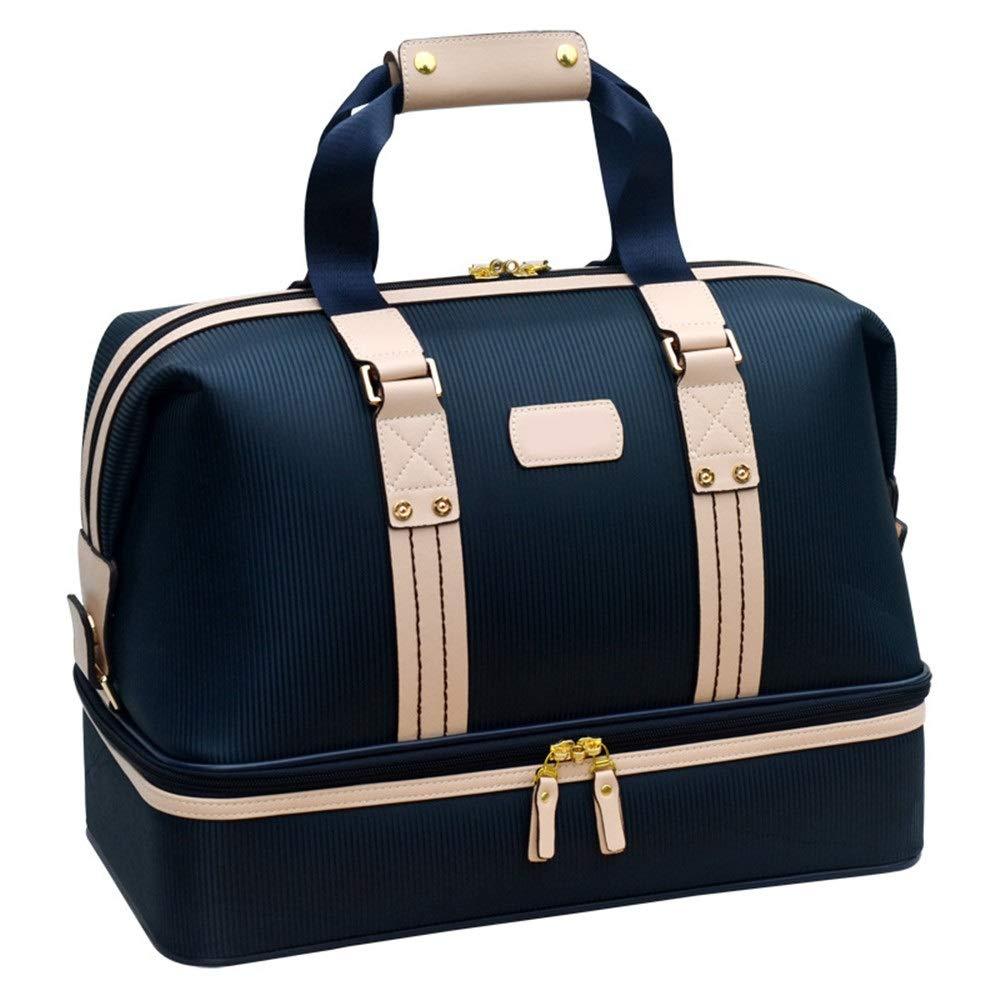 メンズゴルフウェアバッグ女性二層大容量服バッグ軽量フィットネス旅行スポーツ荷物バッグ付き靴コンパートメント 週末旅行ダッフルバッグ (色 : 青, サイズ : 25*31*44cm) 青 25*31*44cm