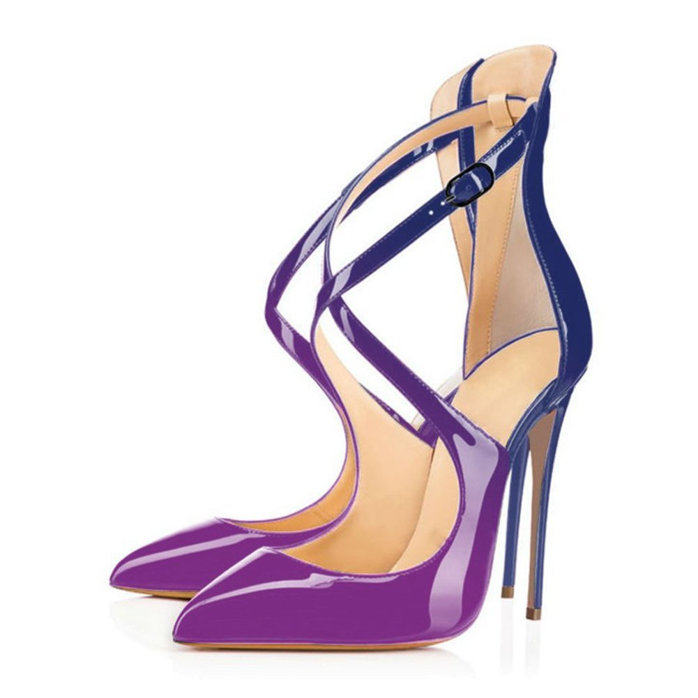 Purple to bluee UMEXI Pointed Toe High Heels Ankle Criss Cross Strap Sandals Stiletto Pumps Wedding Party Dress shoes for Women