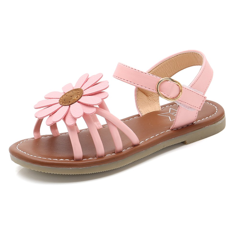 Girl's Flower Flat Sandals Cute Summer Open Toe Ankle Strap Dress Sandals for Kids (Toddler/Little Kid/Big Kid) PK-31