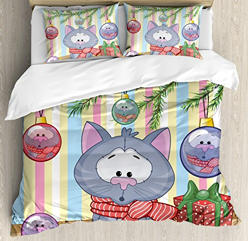 Ambesonne Christmas Duvet Cover Set, Kitten with Scarf Under The Tree with Ball Celebration and Gift Box Cat Themed, Decorative 3 Piece Bedding Set with 2 Pillow Shams, Queen Size, Pink Blue