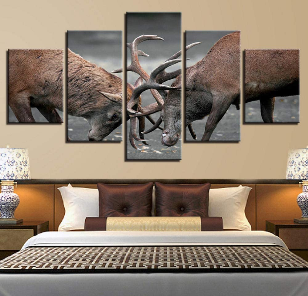 PrintWUHUA Cuadros para Dormitorios Modernos Ciervo Animal En Batalla Cuadros Abstractos Modernos 5 Partes