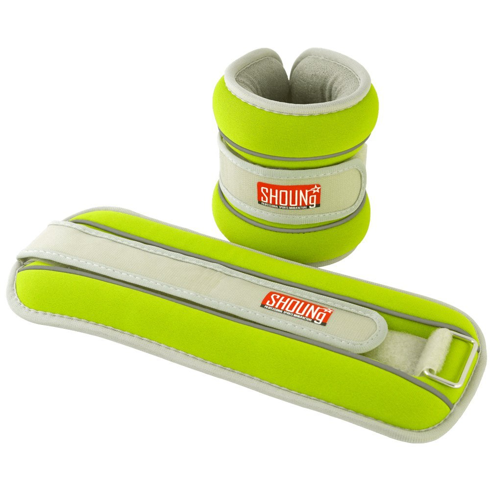 SHOUNg Reflective Ankle/Wrist Weights (1 Pair) with Adjustable Strap for Fitness, Workout, Exercise, Walking, Jogging, Gymnastics, Aerobics and Gym (Green, 5lbs)