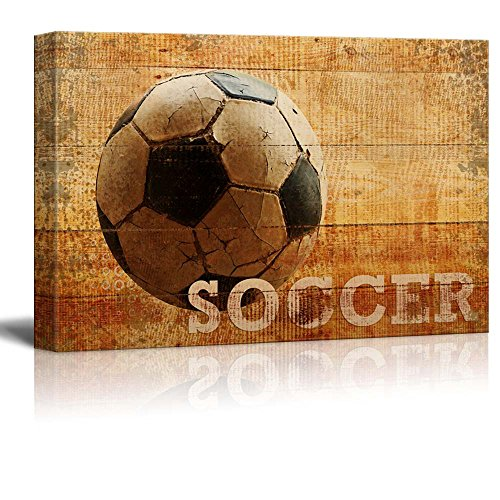 Rustic Soccer Futbol Vintage Wood Grain