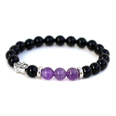 Stress & Anxiety Relief Hamsa Bracelet Made With Amethyst & Black Onyx Semi-Precious Gemstone Beads UK Made FMkpk