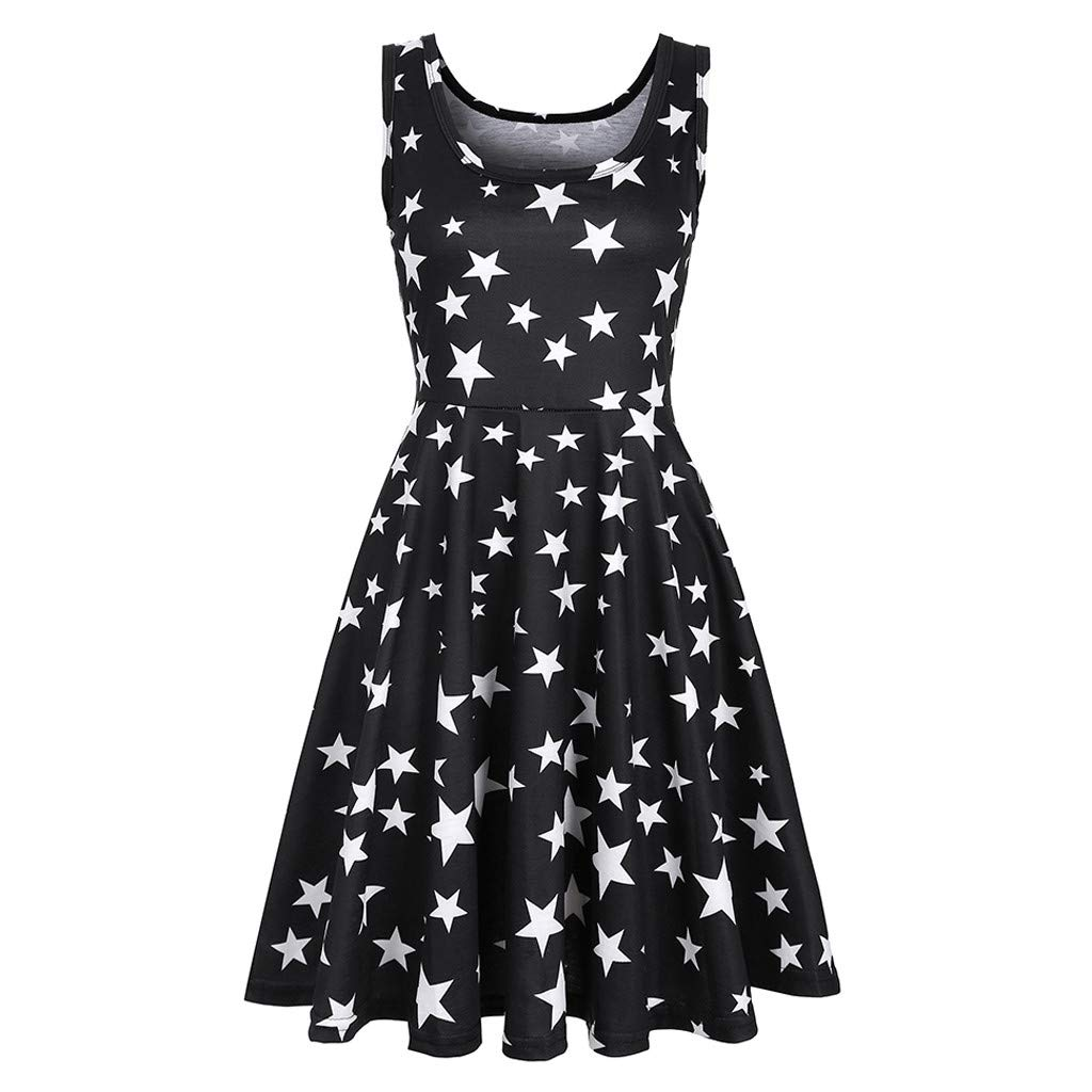 Euone Dress Clearance, Woman Summer Casual Dress Clearance Pentagram Star Print Tank Summer Drsses Pleated Swing Sleeveless Sundress O-Neck Daily Brief