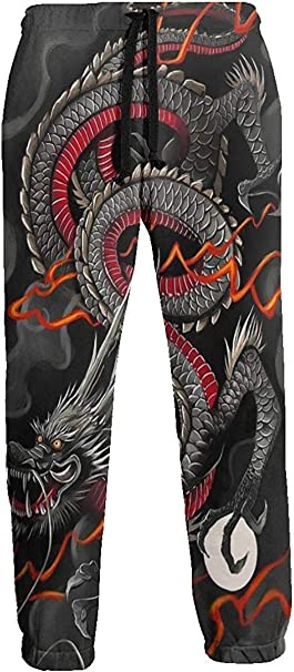 Pantalones de Chándal de Dragon Ball Chino Dragón Rojo Negro ...