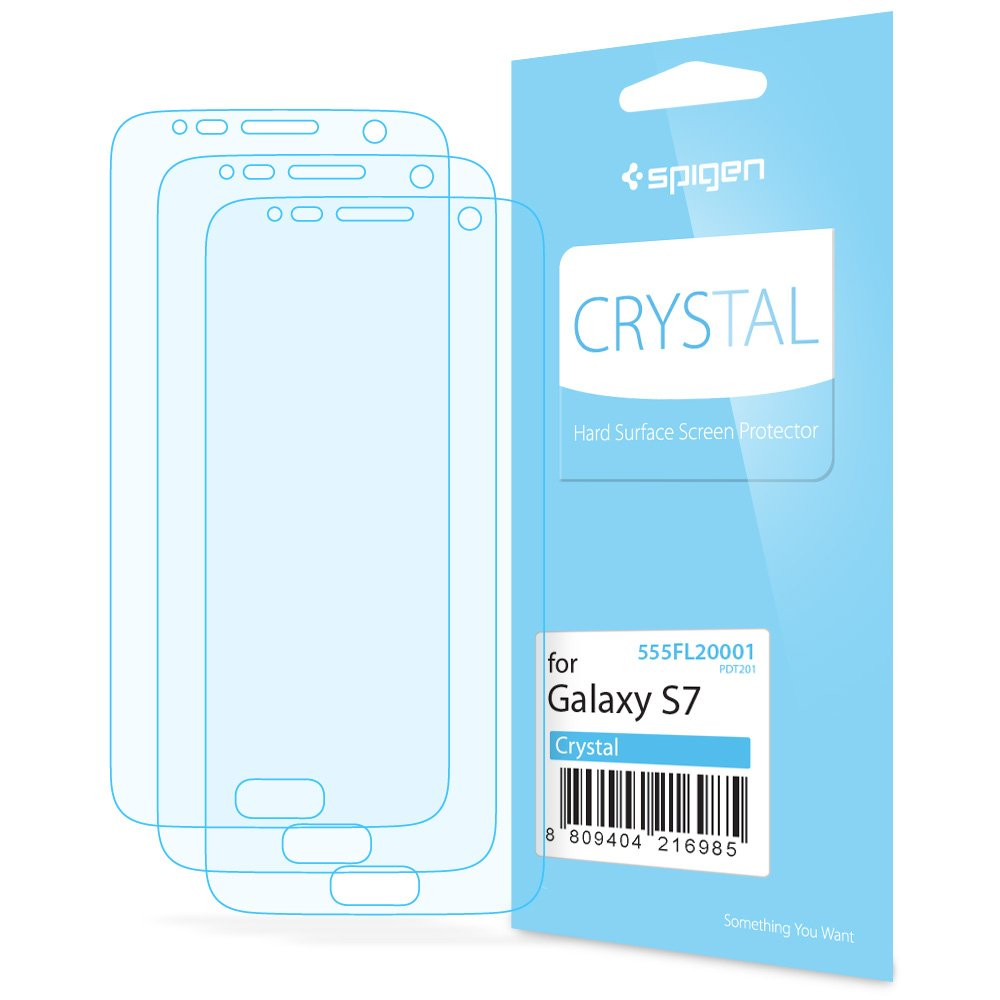 the best attitude 71d15 b9250 Spigen 555FL20001 Crystal Clear Galaxy S7 Screen Protector with Crystal  Film 3 Pack for Samsung Galaxy S7