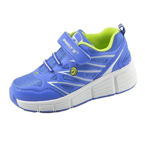 Zapatillas con ruedas automáticas para niños - Transpirables - Mod. 101 - Azul - Talla 32: Amazon.es: Zapatos y complementos