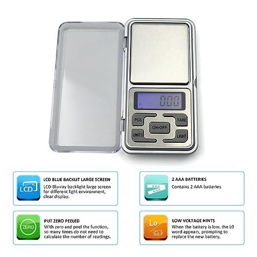 Valuetom alta precisión Mini electrónica digital de bolsillo escala joyería peso equilibrio portátil contador azul LCD g/tl/oz/ct/gn: Amazon.es: Hogar
