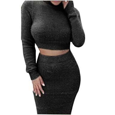 82d2b3578c Women's 2 Pieces Bodycon High Neck Sweater Outfit Long Sleeves Crop Top  Midi Skirt Set