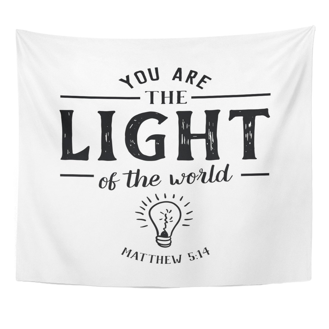 TOMPOP Tapestry You Are the Light of World Christian Hand Lettering Bible Scripture Emblem with Bulb From Book Matthew Home Decor Wall Hanging for Living Room Bedroom Dorm 50x60 Inches