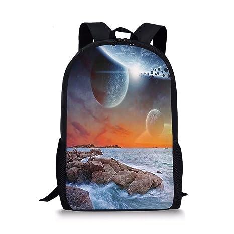 6ac433d16912 Amazon.com: iPrint School Bags Science Room Decor,Planet Landscape ...