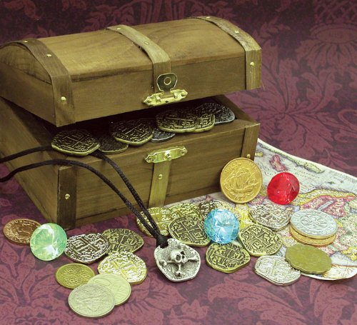 American Coin Treasures Kid's Treasure Chest with Replica Pirate Coins/Foreign Coins/Gems/Necklace Coin (Foreign Treasures)