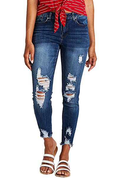 Ybenlow Womens Distressed Ripped Boyfriend Jeans Slim Fit Roll Up Stretch Ankle Denim Pants