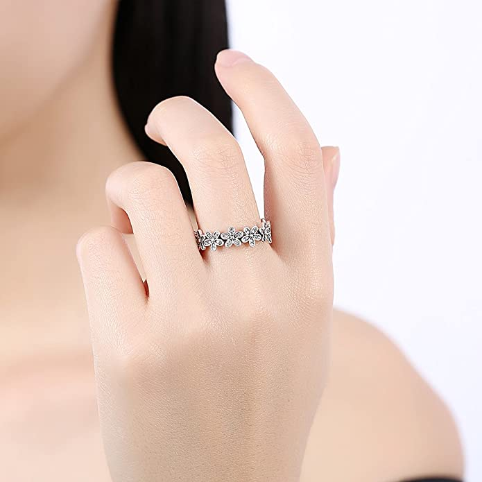 Elensan Flower Shape 925 Sterling Silver Rings With CZ Romantic Wedding Ring Dazzling Daisy Chain Ladies and Girls Love Anel 43y2Duxc