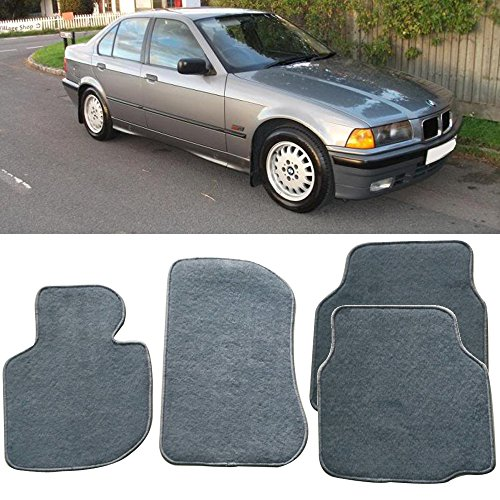 Floor Mats Fits 1992-1998 BMW E36 3-Series | Nylon Gray Front Rear Carpet by IKON MOTORSPORTS | 1993 1994 1995 1996 1997