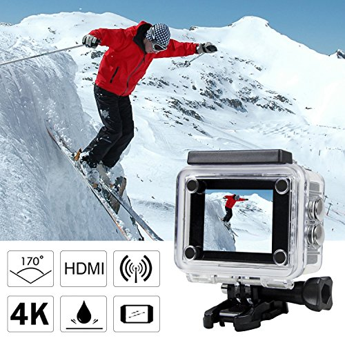 Waterproof Action Camera, GULAKI 4K Action Cam Sports Camera 16MP 2.0 Inch LCD Screen 170°Wide-Angle with Sony Sensor - 2 PCs 1050mAh Batteries and 2.4GHz Remote Accessories Kits