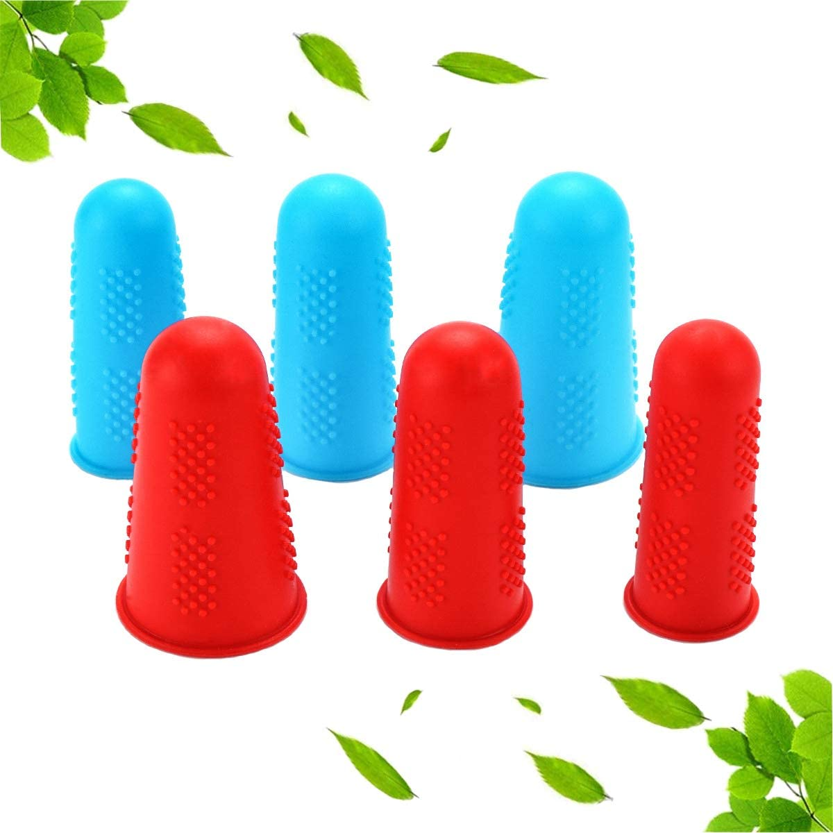 YuanHongLife 6 PCS Silicone Finger Protectors for Hot Glue Gun, Finger Glove, Finger Guard for Sewing, Finger Cap for Knitting Cutting Wax Adhesives Embroidery Craft Ironing Etc, (bluered)