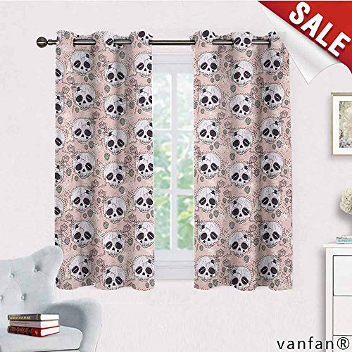 Big datastore Luxury Drapes and Curtains,Skull,Halloween Traditional Mexican Sugar Day of The Dead Roses Horror Folk Pattern,Specially Custom for Youblush White Onyx,W72 Xl45]()