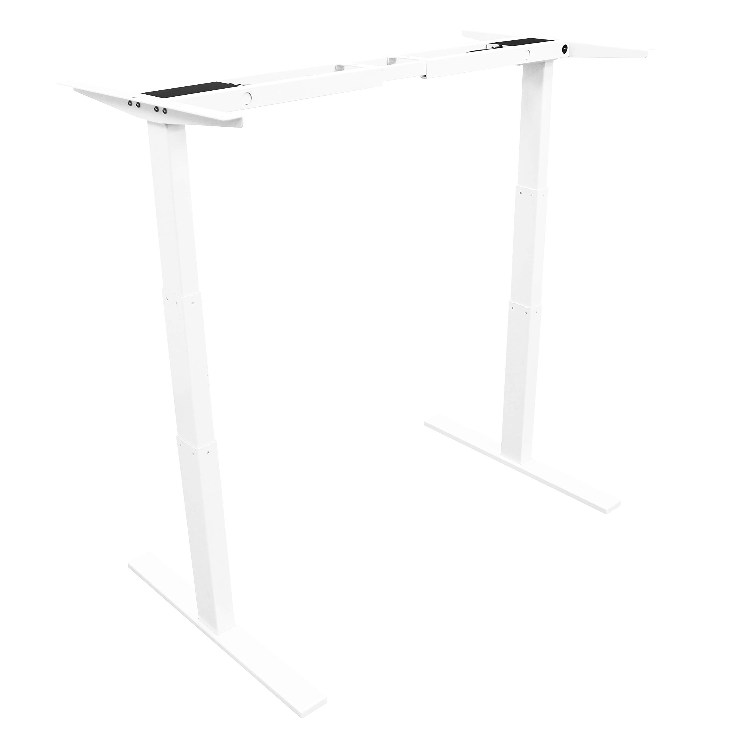 August USA White Desk Electric Motorized Self-Adjusting Standing Desk Frame with Control Pad Memory Settings   360-lbs. Load Capacity by August USA