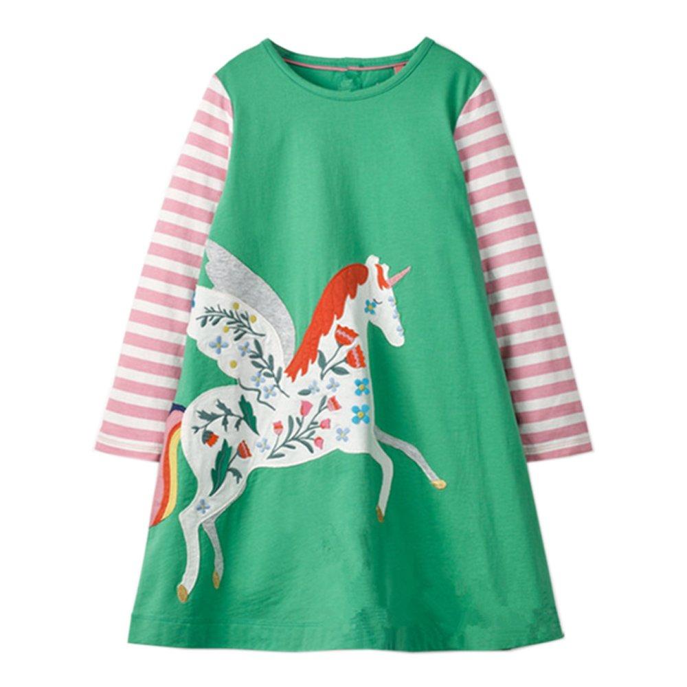 Youlebao Girls Applique Cotton Long Sleeve Cartoon Jersey Dress (18M, Unicorn)