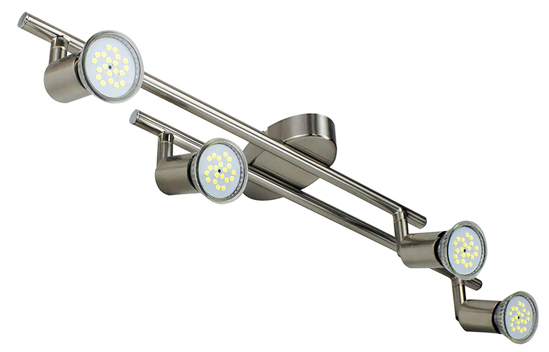 Velouer Plafoniera in girevole incl.Lampade LED GU10 4x5W Bianco freddo. Lampade a soffitto moderne plafoniere, faretti a soffitto mobili. Con faretti a luce rotante, color titanio, corpo metallo 230V