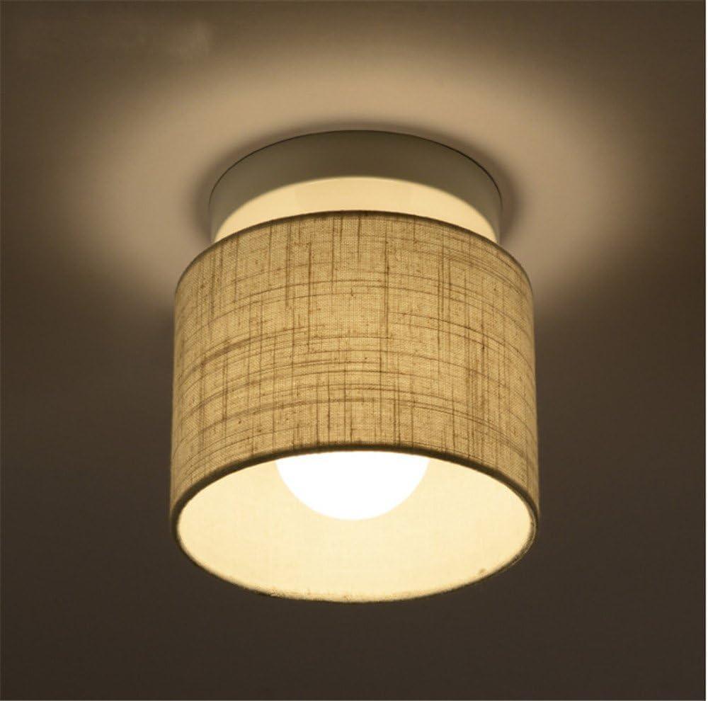 BRIGHTLLT Lámpara de techo sola cabeza pasillo Nórdico simple tela moderna redondo LED corredor entrada lámpara sala de bahía ventana pequeña, 180 * H185mm