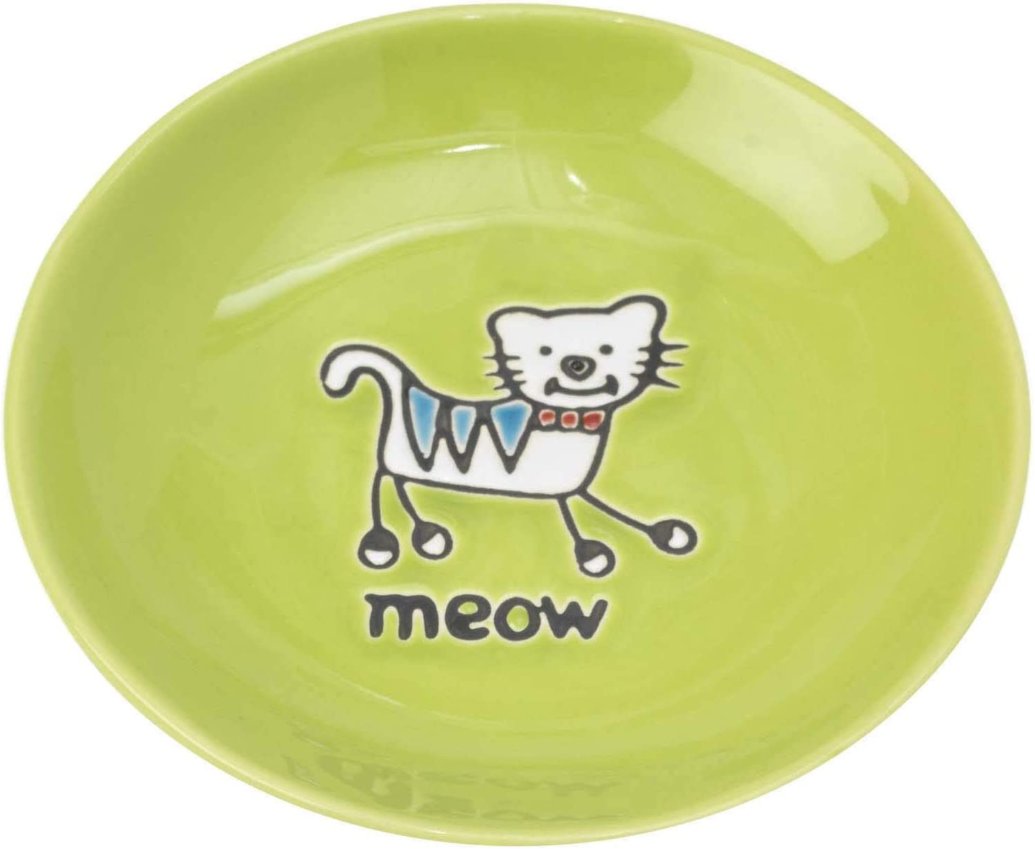 PetRageous 11036 Silly Kitty Dishwasher and Microwave Stoneware Cat Saucer 5-Inch Diameter 2.5-Ounce Capacity for Wet or Dry Cat Food Great For All Cats of All Sizes, Lime Green