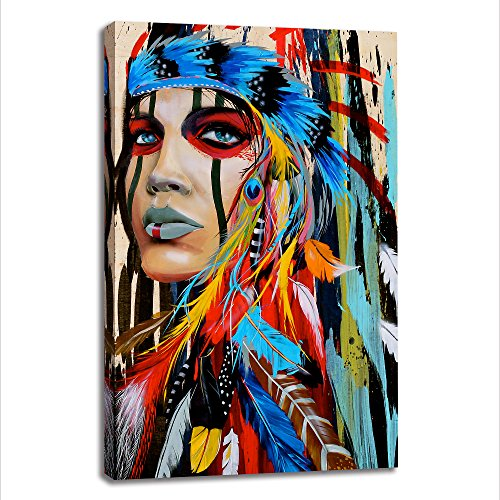 BYXART Framed Wall Art Poster, Colorful Modern Canvas Prints Home Decor Canvas Painting Artwork, Native American Girl Feathered Beautiful Women Wall Hanging Art - Native Home American