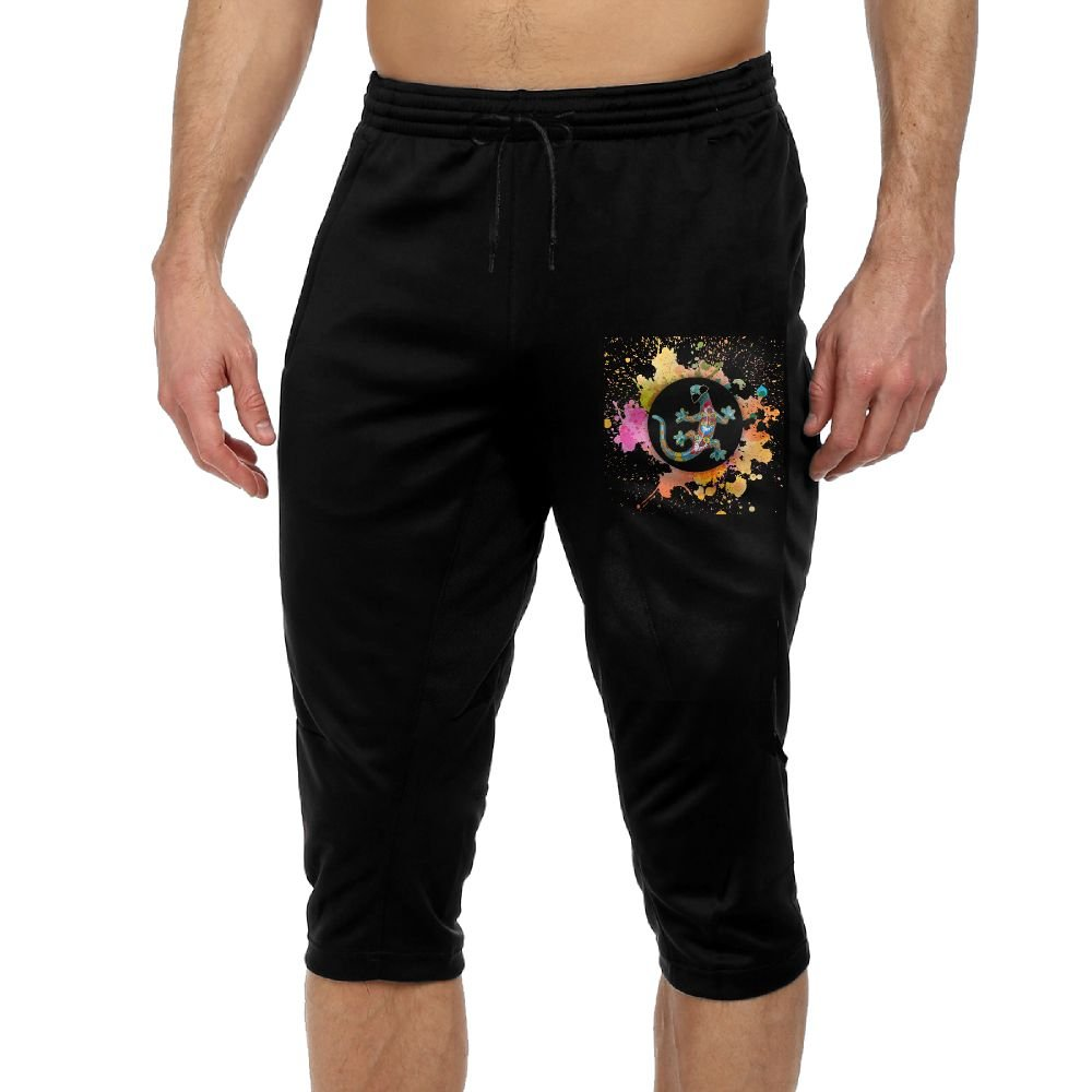 BigManPants Watercolor Colored Gecko Exercise Men's Vintage Casual Durable French Terry Knee Pants by BigManPants