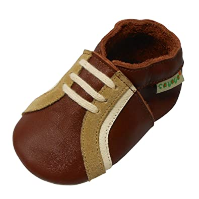 6a79f077132 Sayoyo Toddler Baby Leather Sneaker Shoes Soft Sole Infant Crib Slippers  Brown 0-6 Months