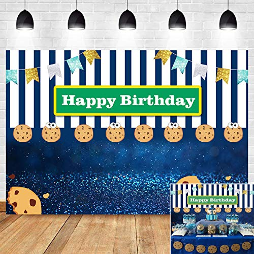 Cookie Monster Party (Blue White Stripe Bokeh Shining Spots Gold Glitter Flags Photo Booth Studio Props Photography Backdrop Cookies Carnival Fiesta Photo Background Kids Happy Birthday Vinyl 5x3ft Dessert Table)
